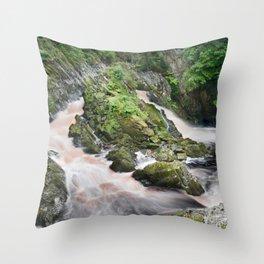 Rhaeadr y Graig Lwyd or Conwy falls Throw Pillow