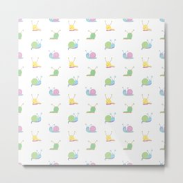 Cute Little Slugs and Snails Cartoon Pattern Metal Print
