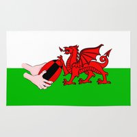 rugby Area & Throw Rugs featuring Wales Rugby Flag by mailboxdisco