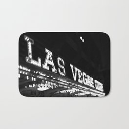 Vintage Las Vegas Sign - Black and White Photography Bath Mat