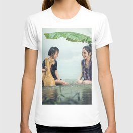 Woman and Girl in a Pond in the Rain T-shirt