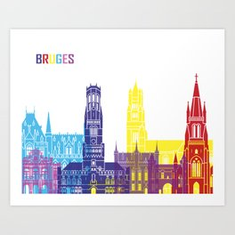 Bruges skyline pop Art Print