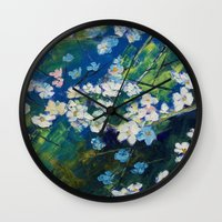 cherry blossoms Wall Clocks featuring Cherry Blossoms by Michael Creese