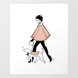 Winter Walk with my Pup Fashion Illustration Art Print