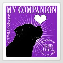 ROTTWEILER – My Companion - Purple Art Print