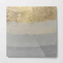 Geometrical ombre glacier gray gold watercolor Metal Print