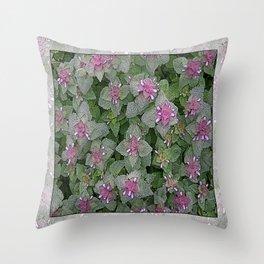 WILD SALVIA MAUVE AND GRAY GREEN Throw Pillow