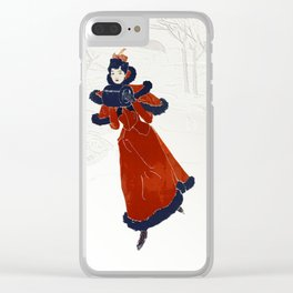 Skating in Snow Clear iPhone Case