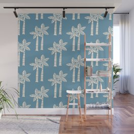 Palm Tree Pattern Blue 22 Wall Mural