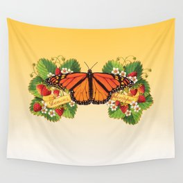 Monarch Butterfly with Strawberries Wall Tapestry