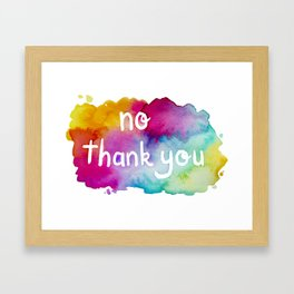 No Thank You Rainbow Watercolor Framed Art Print