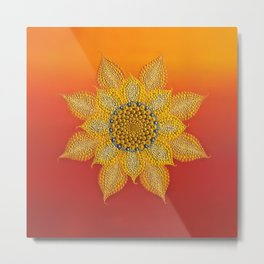 Mandala Sunflower Metal Print