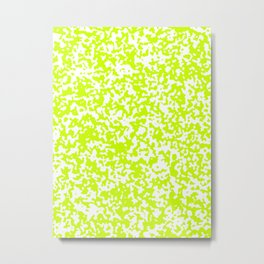 Small Spots - White and Fluorescent Yellow Metal Print