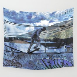 Tipping Point -Skateboarder Launching - Outdoor Sports Wall Tapestry