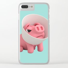 Rosa the Pig and Cone of Shame Clear iPhone Case