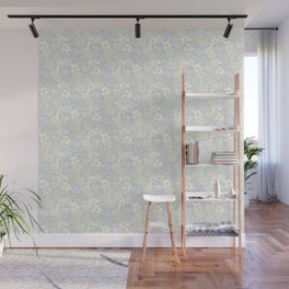 White Floral on Pale Blue Wall Mural