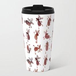 Santa's Dancing Reindeer Watercolor Travel Mug