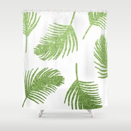 Glitter Palm Leaves Shower Curtain
