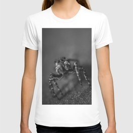 Scurrying Around, Jumping Spider Black and White Macro Photograph T-shirt