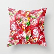 Cherry Peonies Throw Pillow