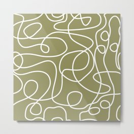 Doodle Line Art | White Lines on Khaki/Olive Green Metal Print
