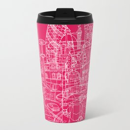 London! Hot Pink Metal Travel Mug