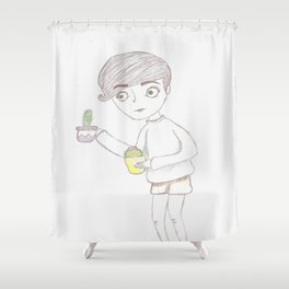 That Girl with the Cacti Shower Curtain