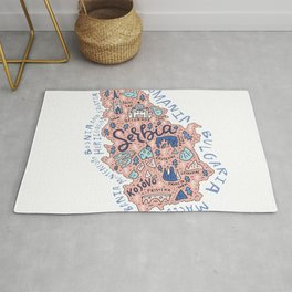 Map of Serbia Rug