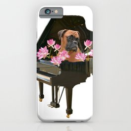 Piano - Boxer Dog - Lotos Flower Blossoms iPhone Case