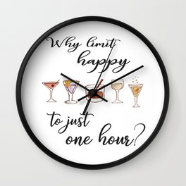 Happy Hour Print. Wall Clock