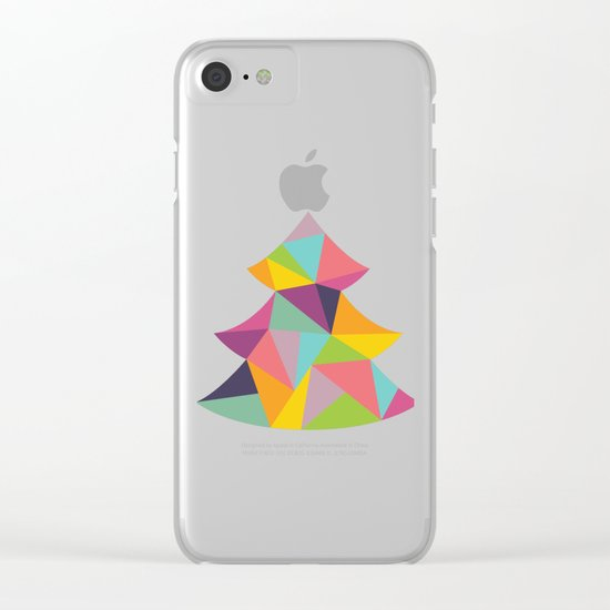 Colourful Christmas Tree Clear iPhone Case