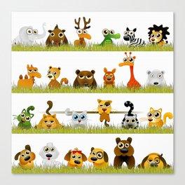 Adorable Zoo animals Canvas Print