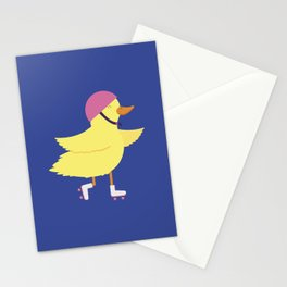Duck on Roller Skates Stationery Cards