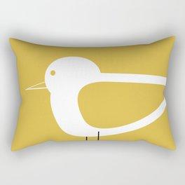Shorebird Pair 2 in White and Light Mustard Rectangular Pillow