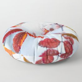 Snowy Fall Leaves // Frozen Fall Colors Floor Pillow