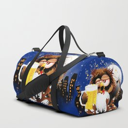 Drunk Owl with Beer Funny Character Duffle Bag