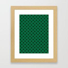 Black on Cadmium Green Stars Framed Art Print