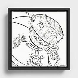Robot Pirate - ink Framed Canvas