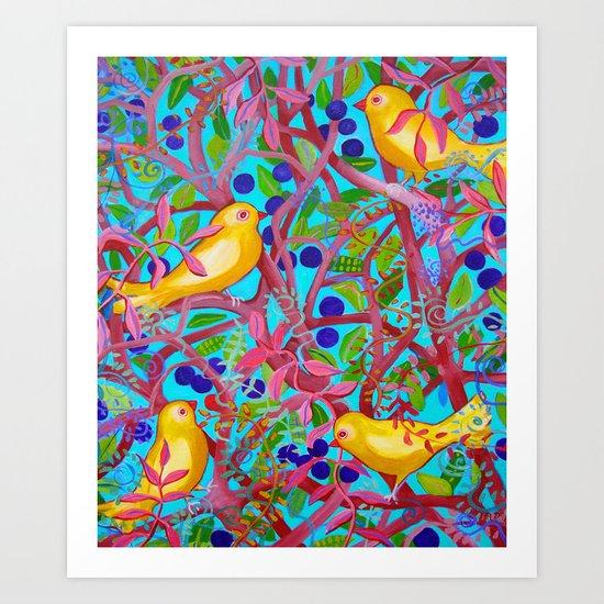 Birds & Berries Art Print