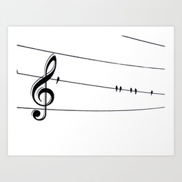 Natures Choir Birds on Wire Music Note A611W Art Print