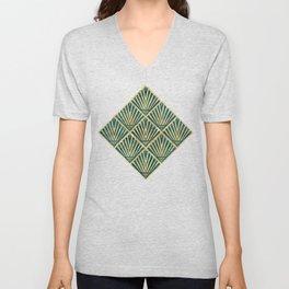 Stylish geometric diamond palm art deco inspired Unisex V-Neck