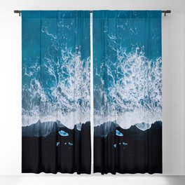 Abstract and minimalist black sand beach in Iceland with chunks of Ice and waves - moody Landscapes Blackout Curtain