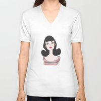 barbie V-neck T-shirts featuring Retro barbie by uzualsunday