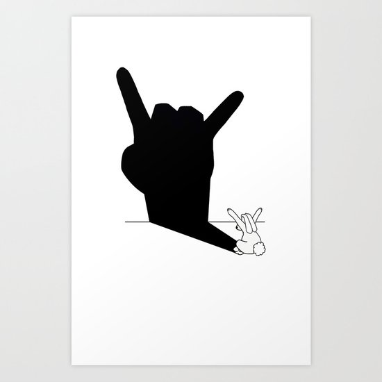 Rabbit Rock and Roll Hand Shadow Art Print