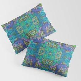 Boho Hippie Garden Floral Pattern - Turquoise Blue Pillow Sham