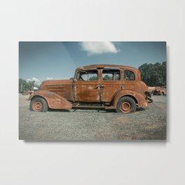 Rusty Classic Car Profile Junk Yard Vintage Automobile Metal Print