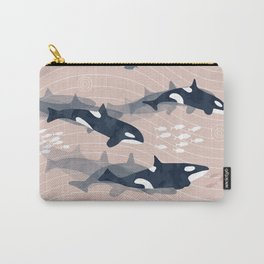 Orca in Motion / blush ocean pattern Carry-All Pouch