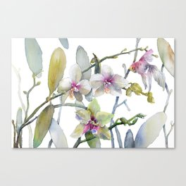 White and Pink Magnolias, Goldfish hiding, Surreal Canvas Print