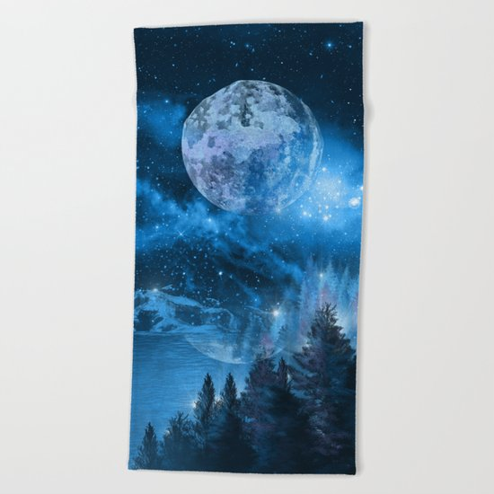 Night forest Beach Towel