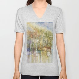 Lazy Day on Swan Lake Unisex V-Neck